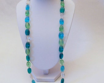 Blue and Green Glass Bead and Silver Necklace