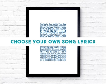 Engagement Gift, Anniversary Gift, Song Lyrics Print, Personalised Song Lyric Print, Custom Song Lyrics, Unique Wedding Gift, Romantic Gift