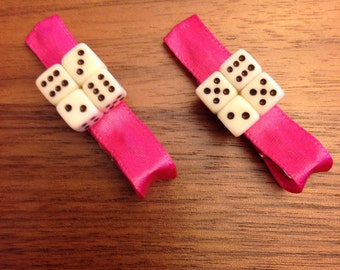 Dice Alligator Hair Clips (pair)