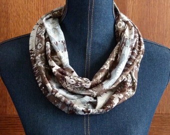 SALE! Infinity Scarf; Silky Knit Infinity Scarf in Blue, Brown, Beige & Tan; Circle Scarf; Loop Scarf; Scarves and Wraps
