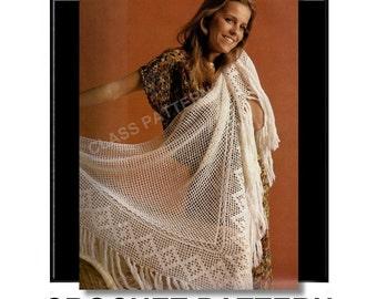 crochet shawl pattern, three corner shawl, summer shawl, wedding wrap, vintage crochet pattern, pattern,