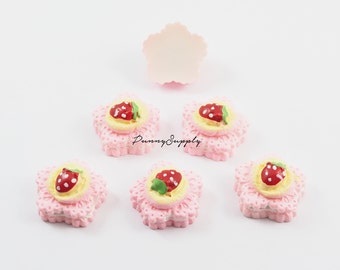 Free Shipping 12 Pcs - Sweet Strawberry Cake Bakery Resin 3D Cabochon Cab Flat back for Craft Making - MAS.37