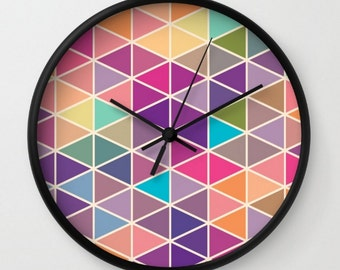 Wall Clock Geometric Hipster Triangles Office Dorm Room Apartment Wall Decor Pink Purple Blue Green Colorful