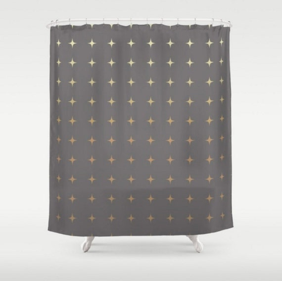 Items Similar To Shower Curtain Slate Grey Gray Gold Ombre Stars Design Pattern Home Bath Room