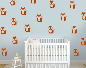 Fox Wall Decals, Fox Wallpaper, Fox Decals, Woodland Decal, Forest Decal, Fox Theme Faux Wallpaper, Woodland Fox Decal, Orange Fox Decal