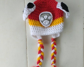 Paw patrol hat, Marshall hat, Marshall paw patrol, crochet hat, baby, toddler, child crochet hat, character crochet earflap hat, Halloween