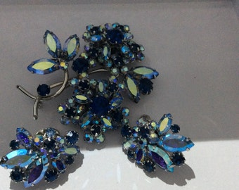 Vendome Demi - blues - brooch & earrings