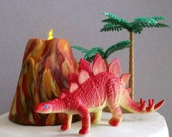 Volcano, Cake Topper, Dinosaur Birthday, Dinosaur Theme, Dinosaur, FLASHING Lighted Volcano, Birthday Party, Child's, Jurassic, Prehistoric