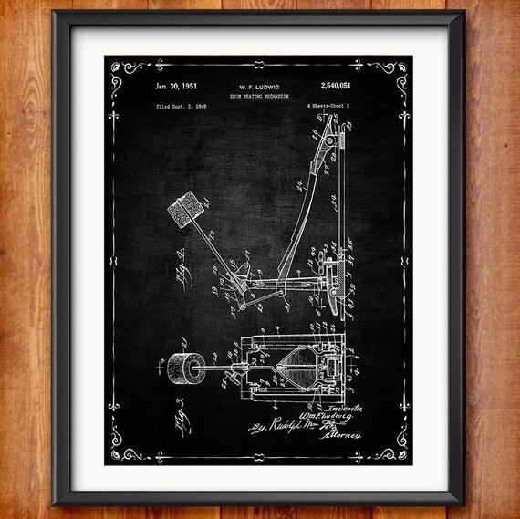 Drum Set Wall Decor : Printable drum set patent drums decor decorations musician