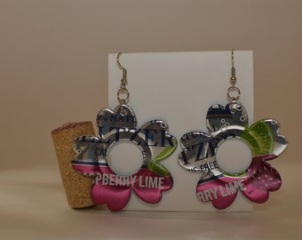 Flower Earrings - made from 'Polar Raspberry Lime Seltzer Water ' can