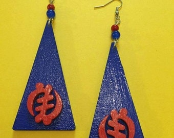 Blue and Red Gye Nyame Earrings