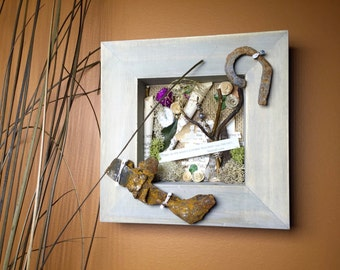 Shadowbox Art with Found Objects, Aeschylus Quote Art