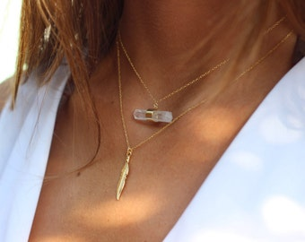 Feather Necklace-Sterling Silver Feather necklace -high detail feather on Sterling Silver-Tiny Gold feather necklace-boho necklace