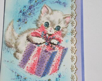 Vintage White Cat Get Well Card, Unused Kitten Kittie Cat Cute Get Well Card with envelope