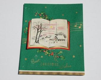 Vintage Glitter Christmas Card, Church Snow Unused Christmas Card, 1950s 50s old Christmas Card