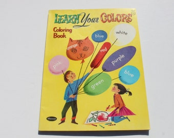 Vintage Kids Coloring Books, Kids Activity Book, Learn your colors Kids Childrens Coloring Book. Christmas Gift