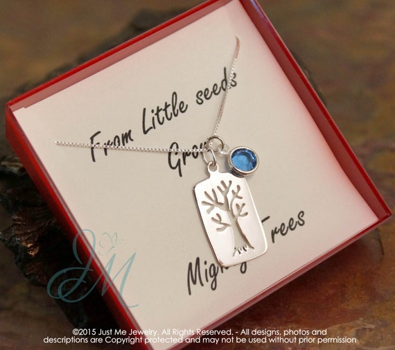 Teacher Necklace with birthstone - Sterling Silver Appreciation Necklace - From little seeds grow mighty trees
