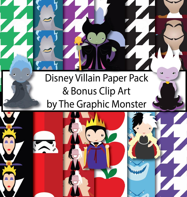 Scrapbook paper disney -  Disney Villain Scrapbook Paper Zoom