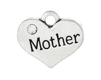 Mother Heart Charm with Stone *add on* Only