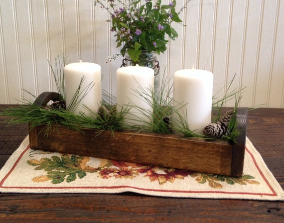 Items similar to rustic wood centerpiece trough small