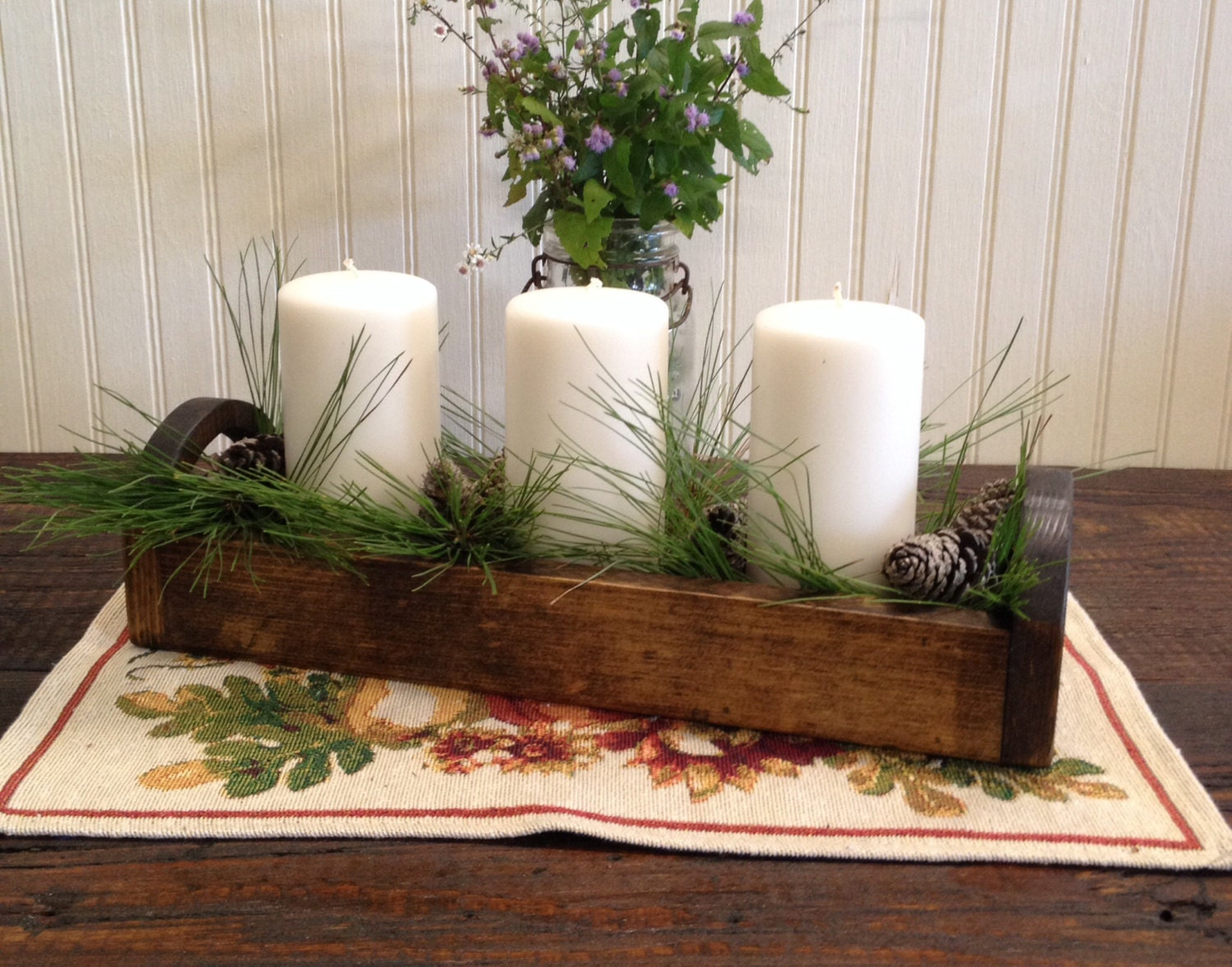 Rustic wood centerpiece trough small by pandkdesignco