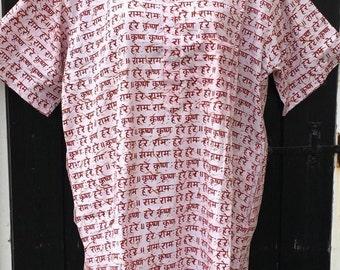 Hindu Spiritual Tunic - Chest upto 45 in- Hare Krishna Rama Vishnu Cotton Kurta - Yoga Meditation wear- Ahimsa Vegan Earthy clothing