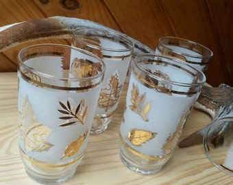 Retro tumblers. Gold leaf glassware. Retro barware.