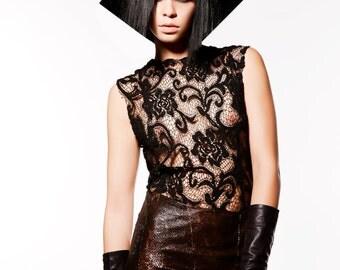 Designer Black Lace and Snake Bronze Dress