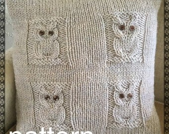 PATTERN 4 Owls cushion cover - envelope opening - chunky/bulky yarn - easy to intermediate