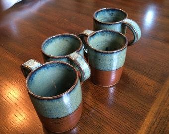 Set of Four Handmade Pottery Mugs, great housewarming gift