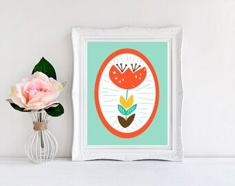 Flower Nursery Print, Single Tulip Print - Available in Two Colors