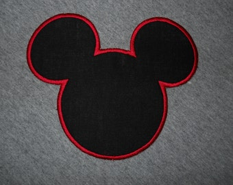 Made to order ~  Mr. Mouse Silhouette  (You Choose The Edge Thread Color) iron on or sew on applique patch