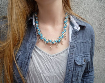 Blue Fabric and Chain Necklace