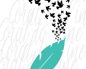 feather SVG, doves SVG, bird feather svg, dove flock svg, birds feather svg, birds SVG, birds of a feather svg, feather birds svg,