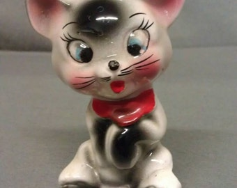 Vintage White Cat with Grey Pink Ears and Cheeks Cat Figurine