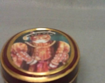 Brown Gold Trim Cat Tin Tan Stripe Cat Tin