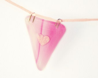 Pink Glass Bunting Garland 6 or 12 Flags Fused Glass 1 or 2 metres
