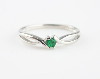 Genuine Emerald Ring, Simple Gemstone Ring, Sterling Silver, Solid 14k White Gold