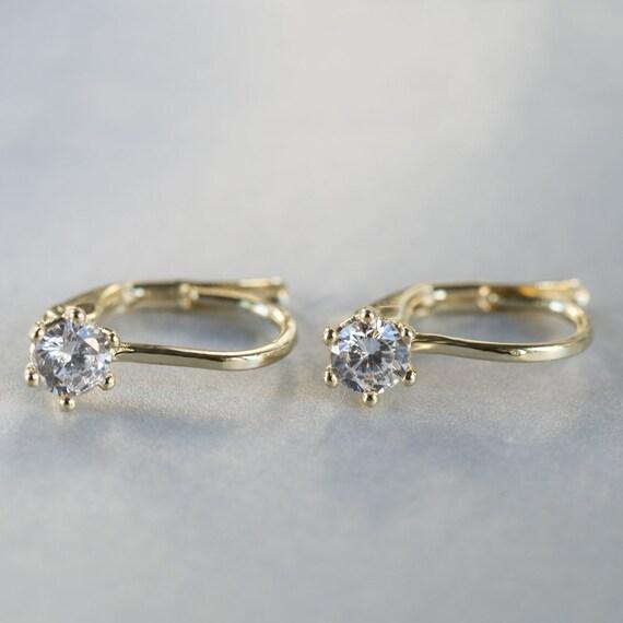Elegant Diamond Earrings Simple Drop Earrings Solid 14k