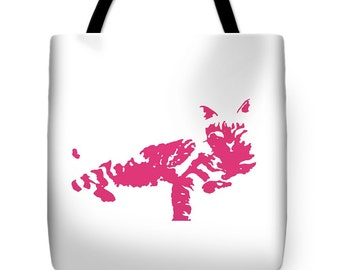 Pink Cat Tote Bag,Pink and White Beach Bag,Cat Tote,Feline Shopping Bag,School Tote,Fashion Bag,Pop Art Cat Design,Overnight Bag