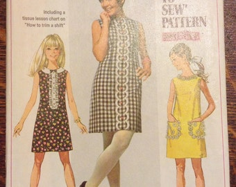 Vintage Simplicity 8011 1968 Young Junior/Teens' Dress Size 13/14 Sewing Pattern- 60's Retro, Vintage, Hippie, Babydoll, Boho