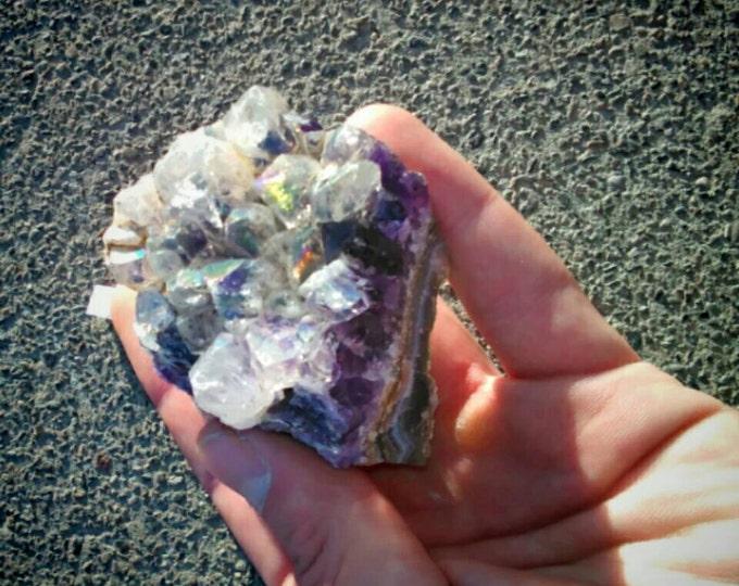"Amethyst Aura Cluster- Celestial Aura From Arkansas 2 1/2"" x 2"" inch x 2"" Aura \ Amethyst \ Raw Amethyst \ Aura Quartz \ Crystal \ Crystals"
