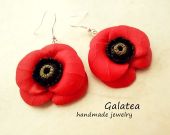 Red poppies earrings, statement floral earrings, polymer clay poppies earrings, red flowers earrings, gift for woman, mom's gift