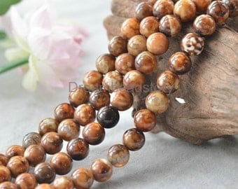 Leopard Print Agate Beads, Round 8 10 12 14 16mm Personalized Loose Beads (JY181)