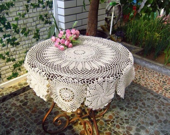 """New crochet America style table cloth/mat beige round 39.4"""" C0204"""