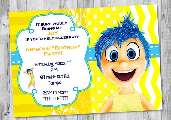 Joy Inside Out Birthday Invitation - Birthday invitations inside out
