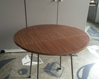 Brown formica round table