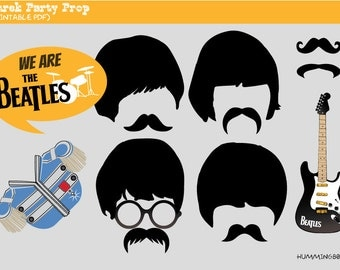 Beatles Party Photo Booth Prop, Instant Download,Party Printable - Rock Band, John Lennon, Paul McCartney, George Harrison, Ringo Star