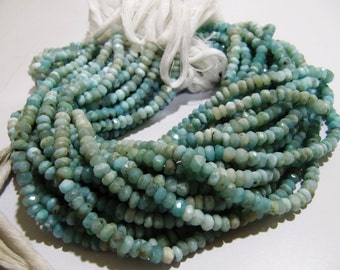 14 inch Strand RARE GEMSTONE LARIMAR Beads / Rondelle faceted 4.5mm to 5mm Sizes / True Gemstones Semi Precious / Low Prices