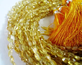 Top Quality Natural Citrine Coin Faceted Beads / Size Exact 4.5mm / Micro Size Genuine Citrine Beads Strand with Tassle/ Strand 8 inch long